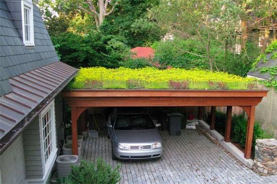 tamanho de garagem com telhado verde