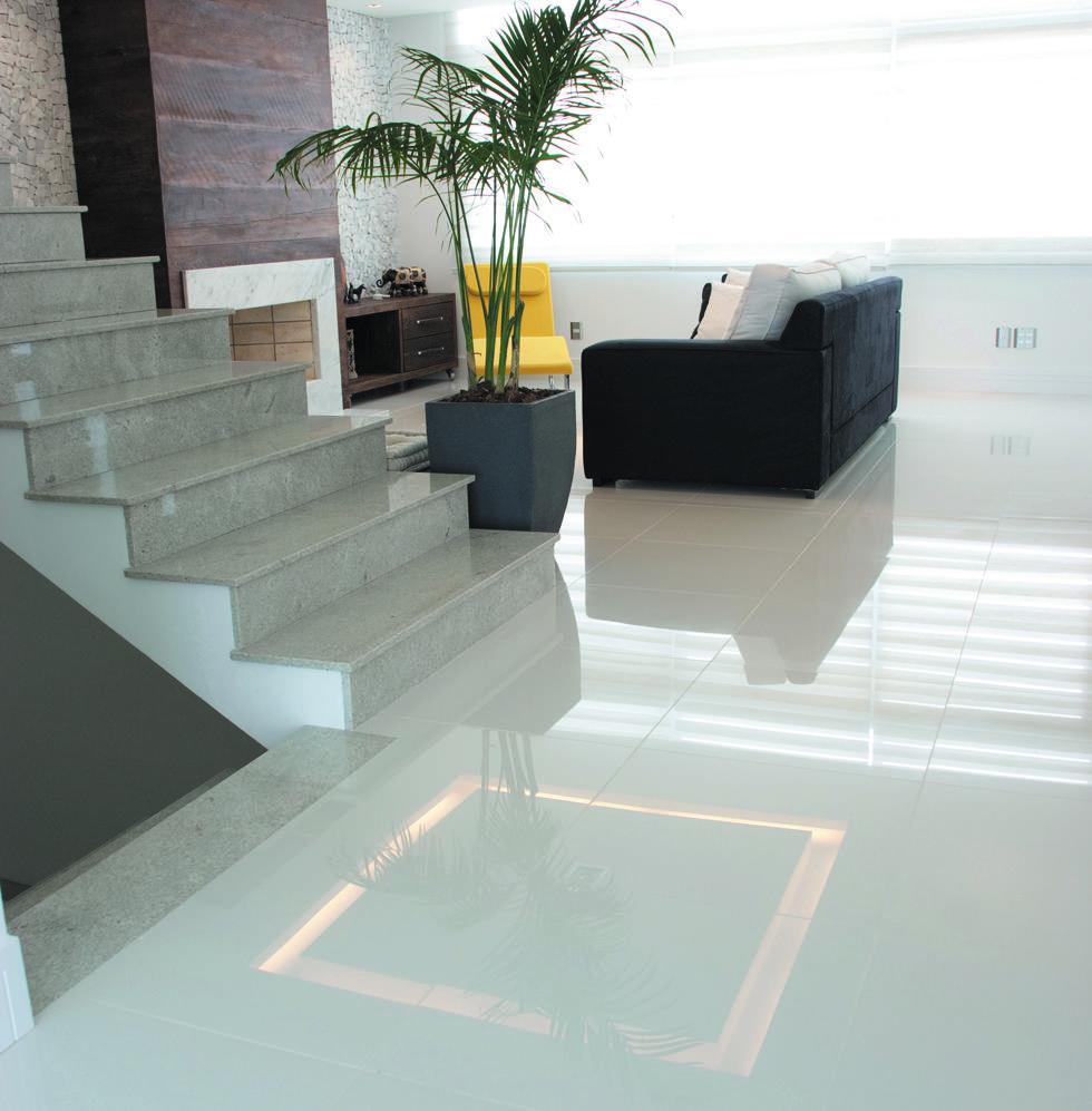 piso branco esmaltado