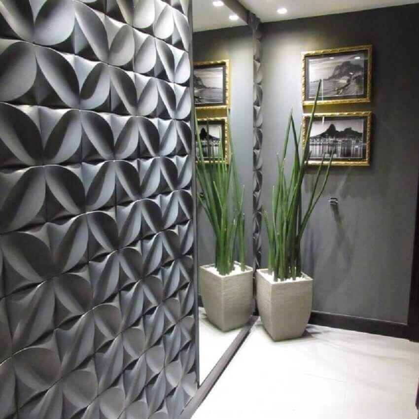painéis de gesso 3D revestimento cinza