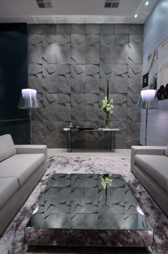 sala bem decorada com painéis de gesso 3D