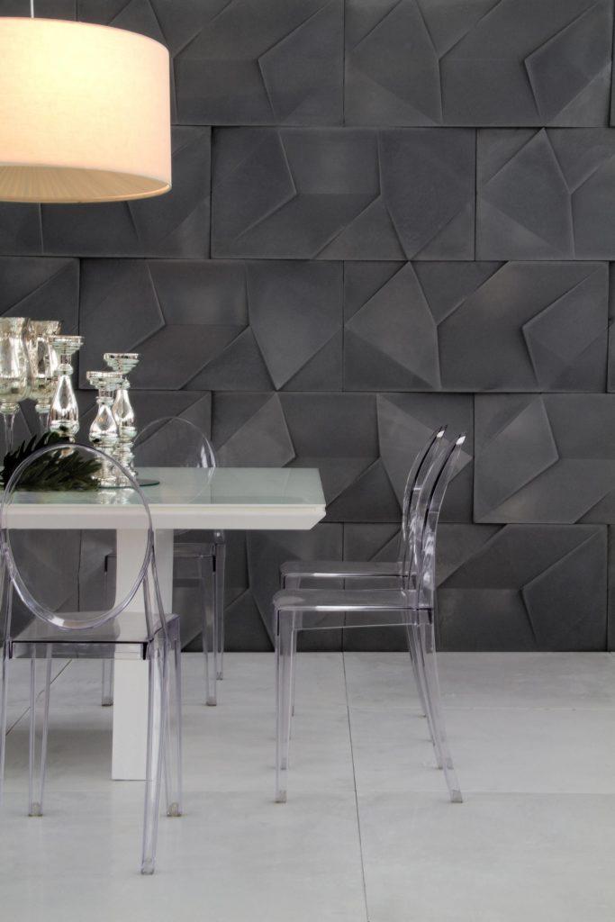 parede cinza escuro painéis de gesso 3D