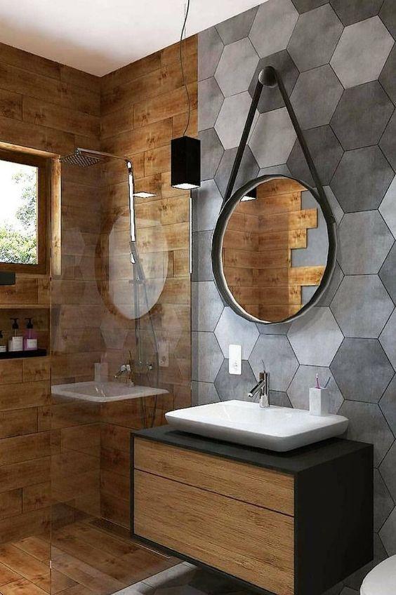 madeira e revestimento hexagonal