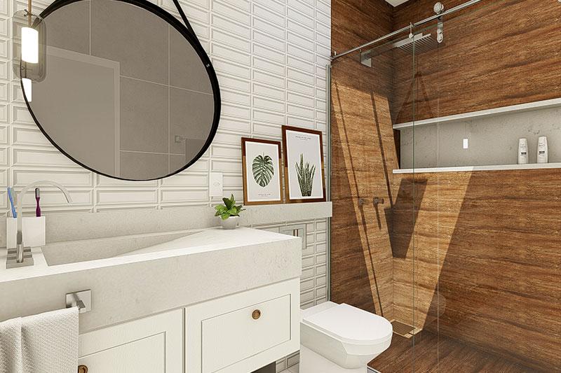 tijolo e madeira no banheiro