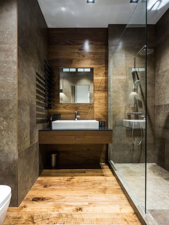 banheiro cinza e madeira