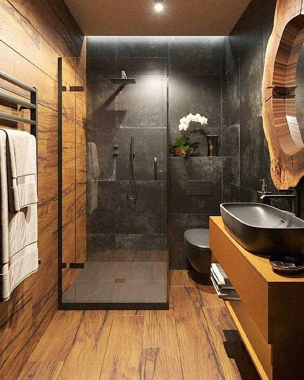 banheiro com decoração cinza