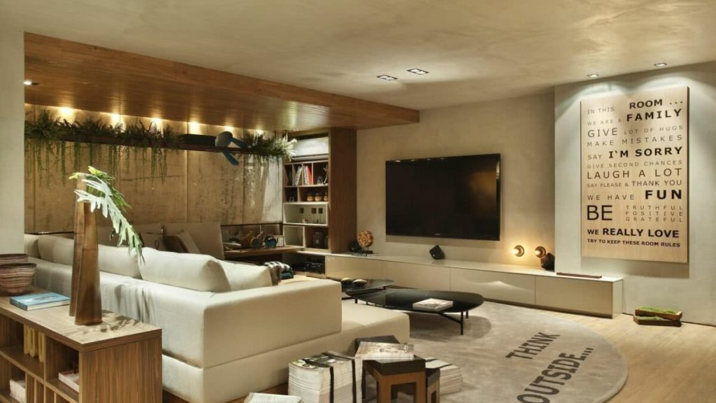 sala com tv dimensionada