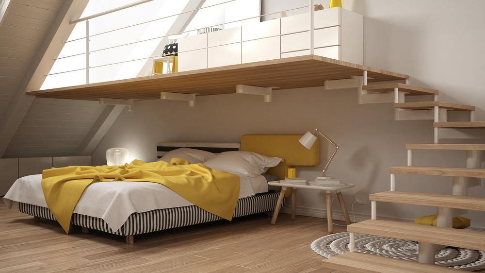mezanino em cima da cama