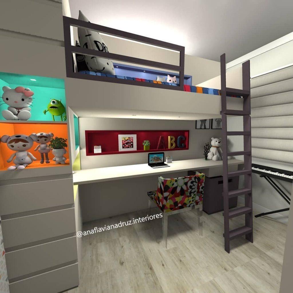 quarto com cama suspensa