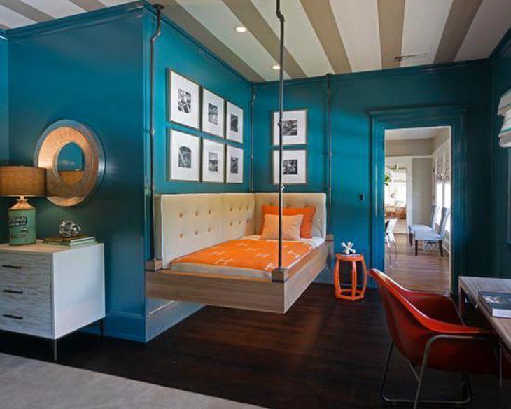cama sofá decorada Modelos de camas suspensas