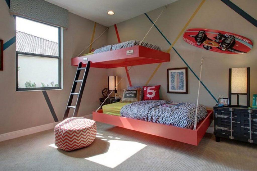 quarto colorido Modelos de camas suspensas