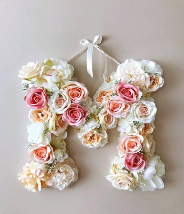 letra com flores