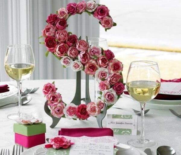molde de letras com flores