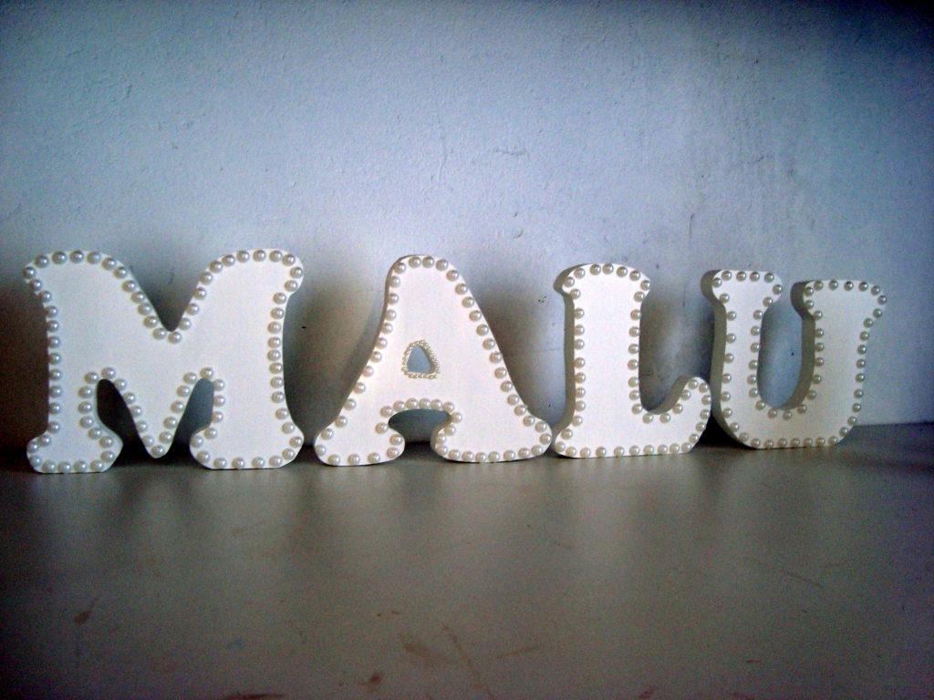 decoração com letras simples