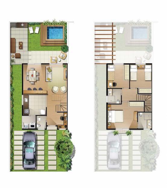 casa com quintal plantas de sobrados