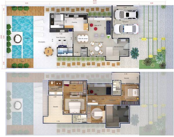residencia com 3 quartos