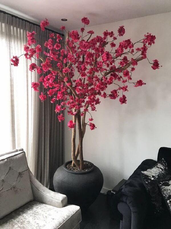 planta artificial no vaso