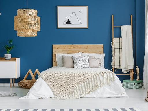 decoração com azul e tons claros