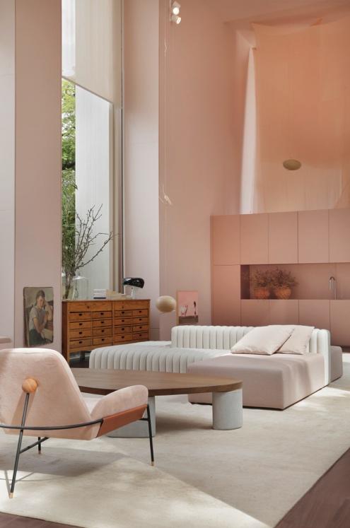 sala pastel rosa