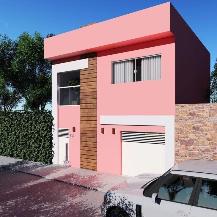 fachada em rosa
