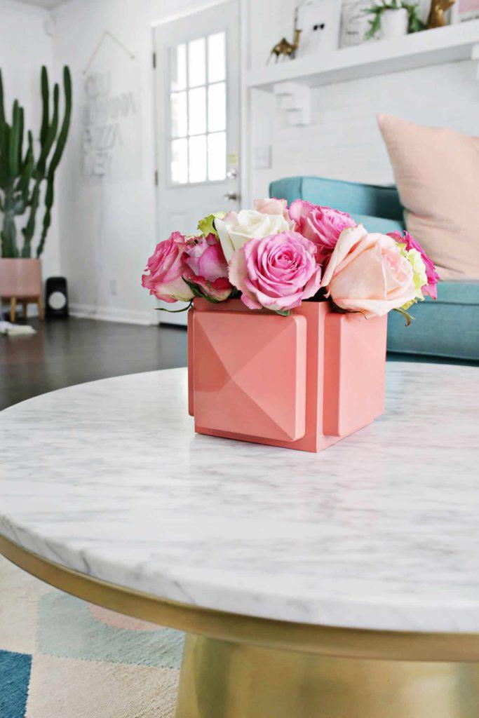 vaso geométrico rosa
