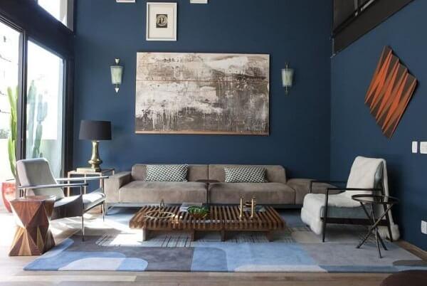 azul petróleo parede sala