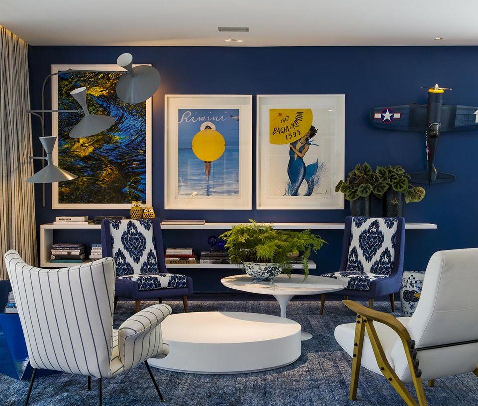 sala decoração azul petróleo