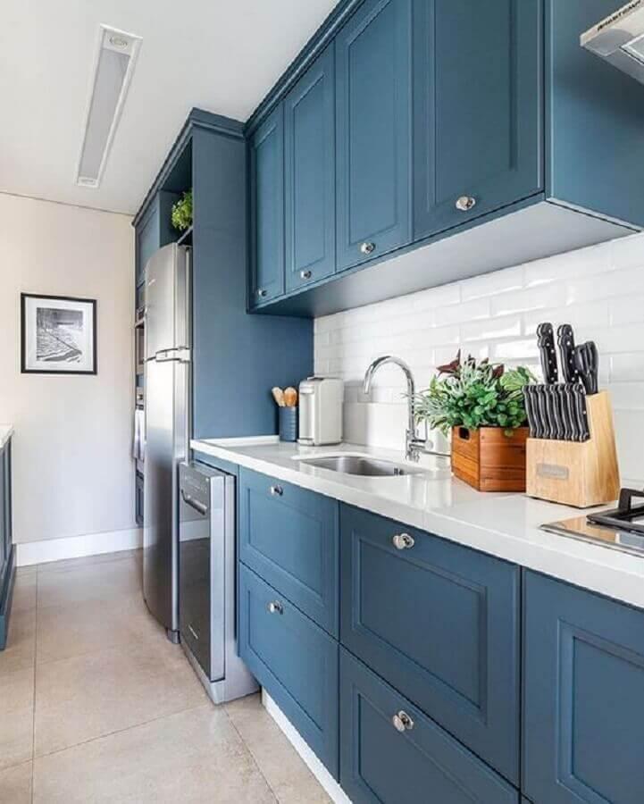 azul e branco para cozinha