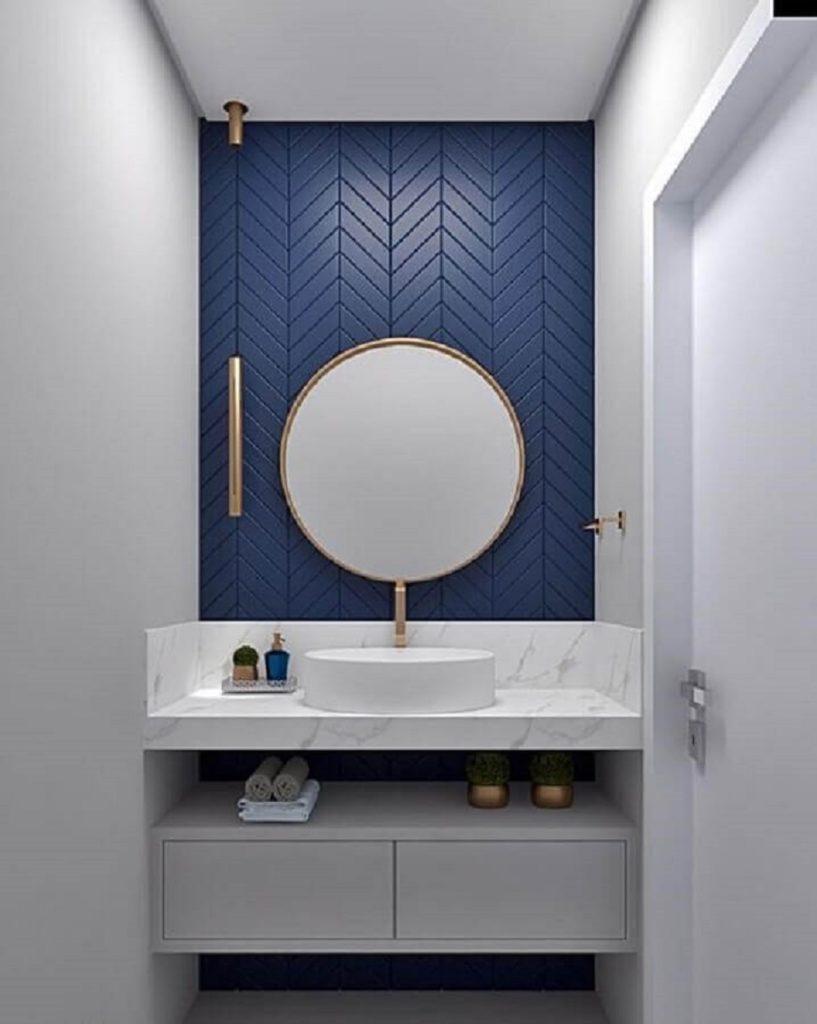 banheiro minimalista azul